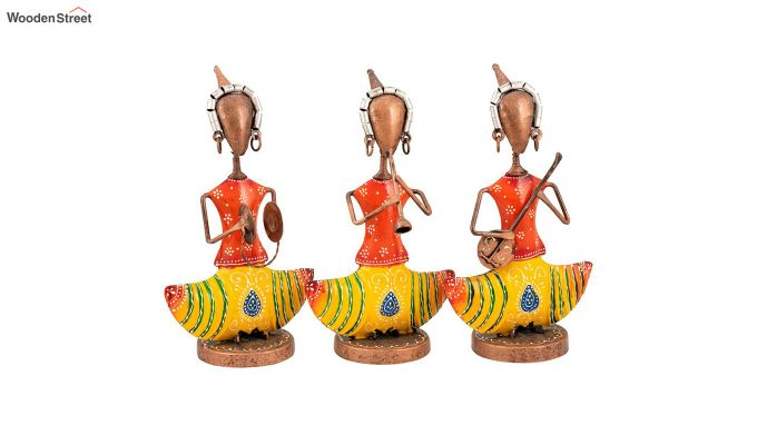 Yellow Iron Singer Lady Decorative Figurine - Set of 3-2