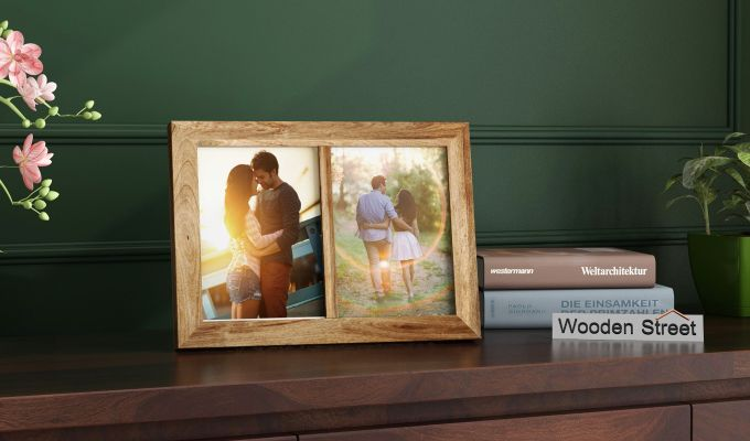 Oak Dual Photo Frame (Natural Finish)-1