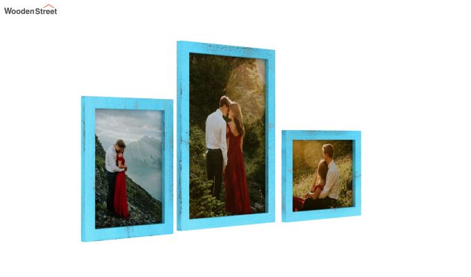 Amour Photo Frame Set of Three (Blue) (Blue Finish)-2