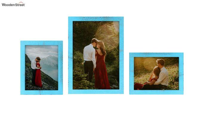 Amour Photo Frame Set of Three (Blue) (Blue Finish)-3