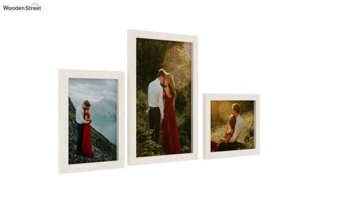 Amour Photo Frame Set Of Three (White) (White Finish)-2