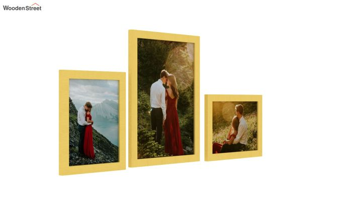 Amour Photo Frame Set Of Three (Yellow) (Yellow Finish)-2