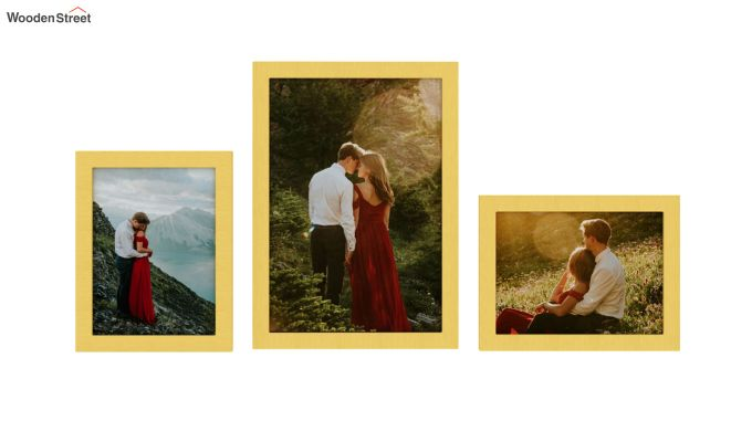Amour Photo Frame Set Of Three (Yellow) (Yellow Finish)-3