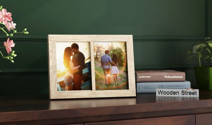 Oak Dual Photo Frame (White Finish)-1