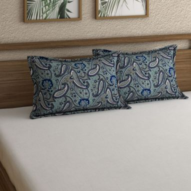 Dark Green Cotton Paisley Print Floral Pattern Pillow Covers - Set of 2