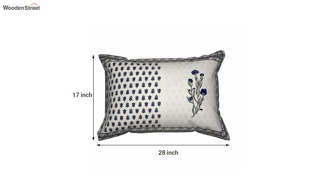 Off White Screen Floral Print Pillow Covers - Set of 2-5