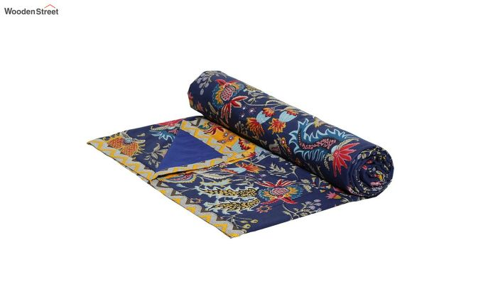Blue and Orange Screen Print Single Bed AC Dohar-4