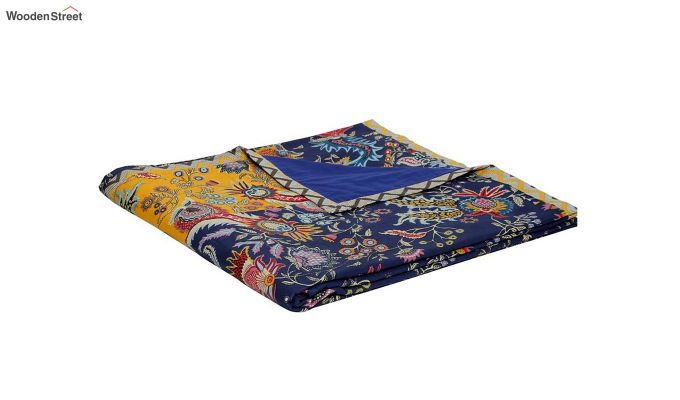 Blue and Orange Screen Print Single Bed AC Dohar-5