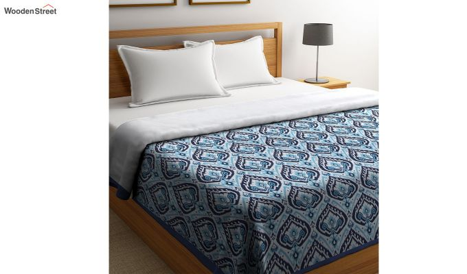 Blue Cotton Screen Print Floral Double Bed AC Dohar-1