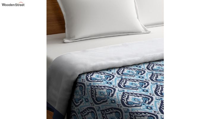 Blue Cotton Screen Print Floral Double Bed AC Dohar-2