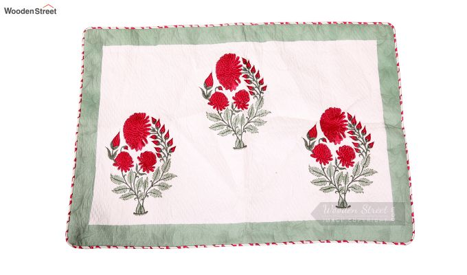 Dandy Red Hand Block Print Quilt With Pillow Covers-3