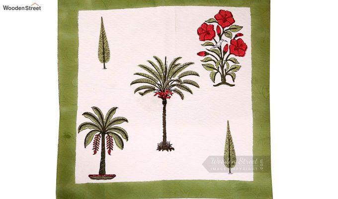 Date Palm Hand Block Print Quilt With Pillow Covers-4
