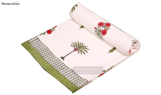 Date Palm Hand Block Print Quilt With Pillow Covers-6