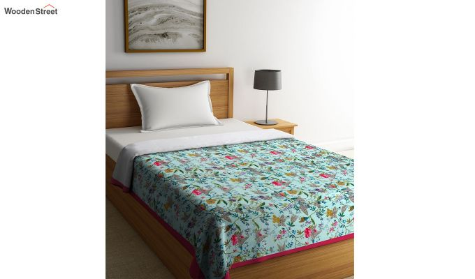 Green Cotton Screen Print Floral Single Bed AC Dohar-1