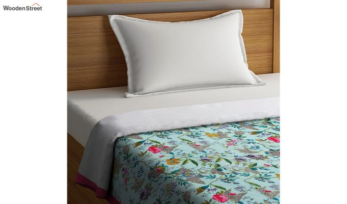 Green Cotton Screen Print Floral Single Bed AC Dohar-2