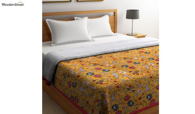 Orange Cotton Screen Print Floral Double Bed AC Dohar-1