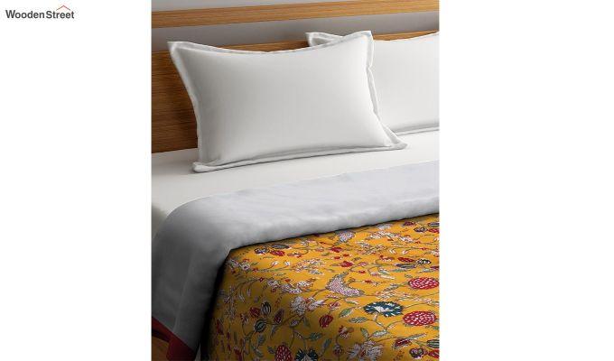 Orange Cotton Screen Print Floral Double Bed AC Dohar-2