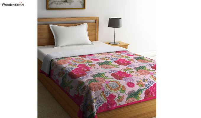 Pink Cotton Screen Print Floral Single Bed AC Dohar-1