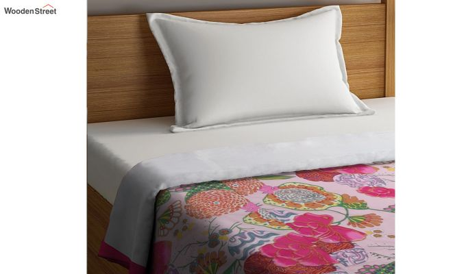 Pink Cotton Screen Print Floral Single Bed AC Dohar-2
