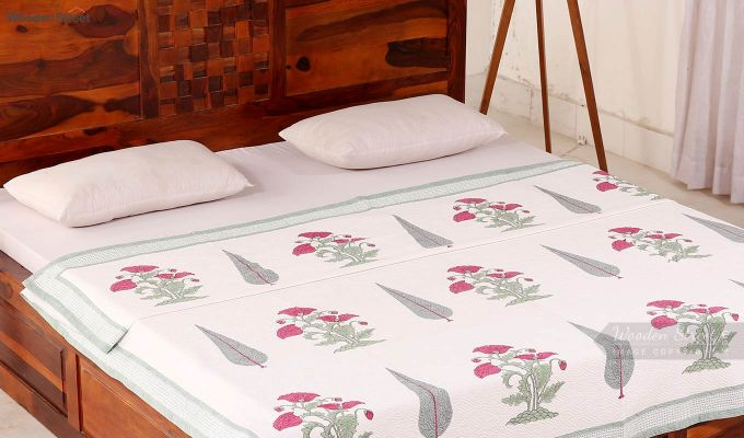 Pink Flora Hand Block Print Quilt With Pillow Covers-1