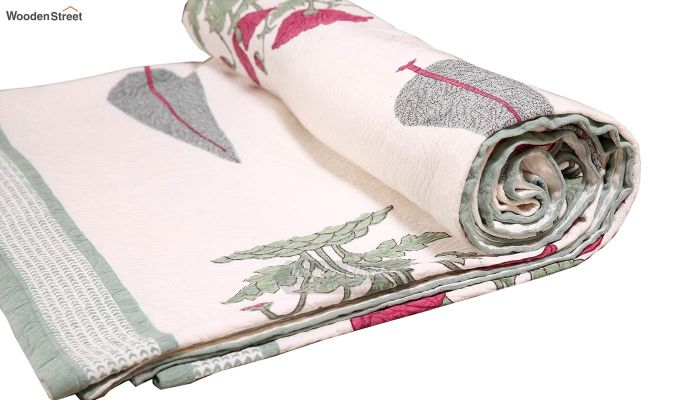 Pink Flora Hand Block Print Quilt With Pillow Covers-8