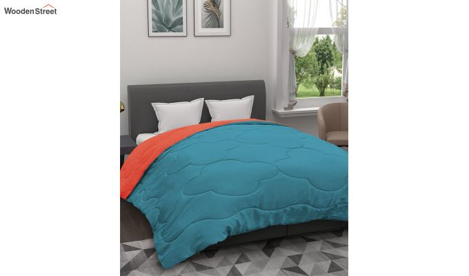 Polyester Double Bed Green Comforter-1