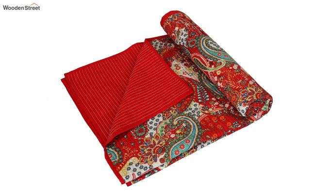 Red Screen Print Jaipuri Traditional Double Bed Summer Quilt-4