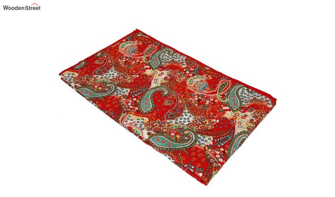 Red Screen Print Jaipuri Traditional Double Bed Summer Quilt-5