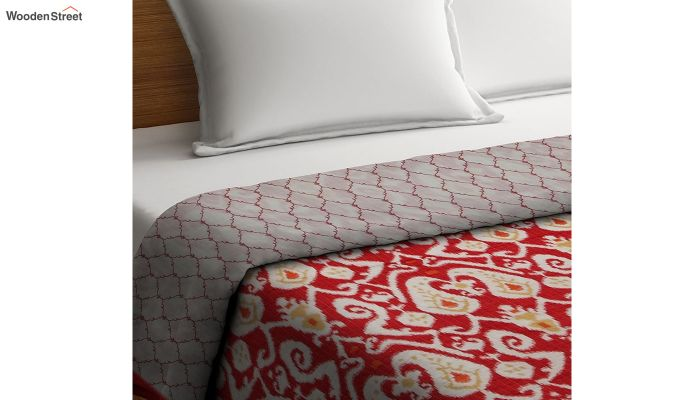 Red Screen Print Traditional Jaipuri Double Bed Summer Quilt-2
