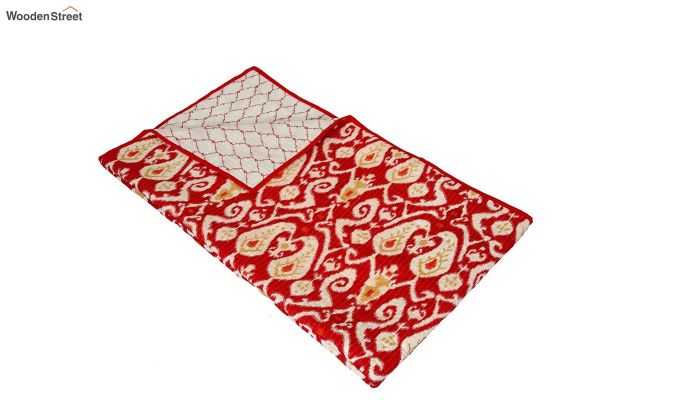 Red Screen Print Traditional Jaipuri Double Bed Summer Quilt-4