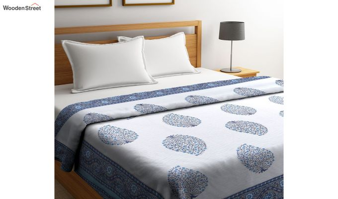 White and Blue Screen Print Traditional Jaipuri Double Bed Summer Quilt-1