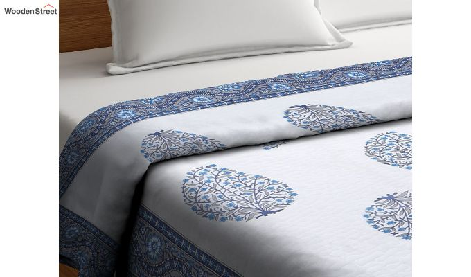 White and Blue Screen Print Traditional Jaipuri Double Bed Summer Quilt-2