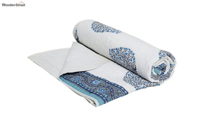 White and Blue Screen Print Traditional Jaipuri Double Bed Summer Quilt-3