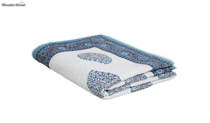 White and Blue Screen Print Traditional Jaipuri Double Bed Summer Quilt-4
