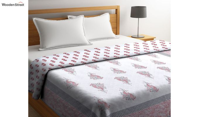 White and Pink Screen Print Traditional Jaipuri Double Bed Summer Quilt-1