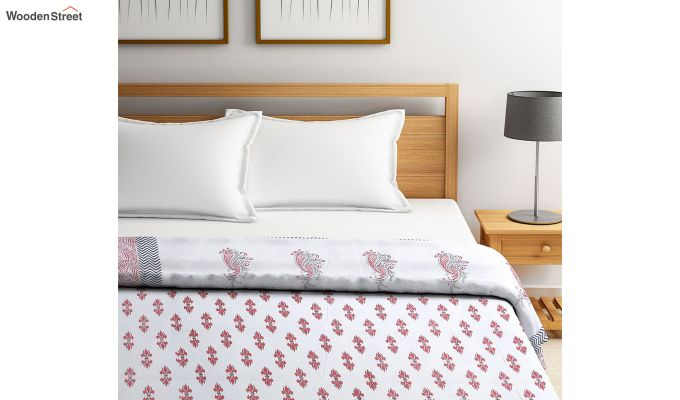 White and Pink Screen Print Traditional Jaipuri Double Bed Summer Quilt-2