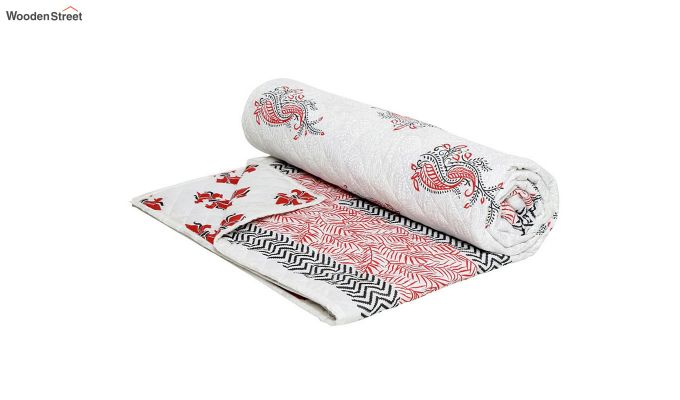 White and Pink Screen Print Traditional Jaipuri Double Bed Summer Quilt-4