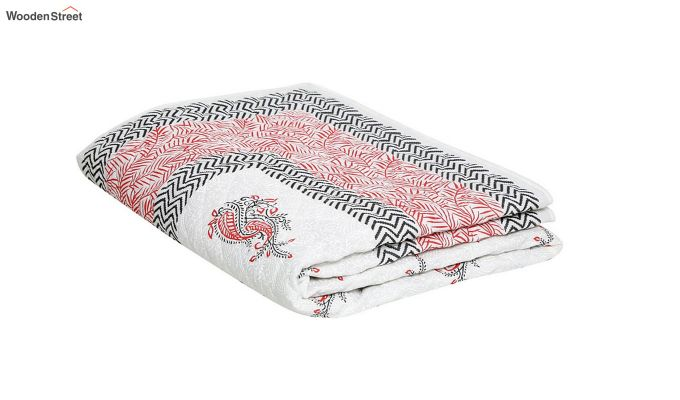 White and Pink Screen Print Traditional Jaipuri Double Bed Summer Quilt-5