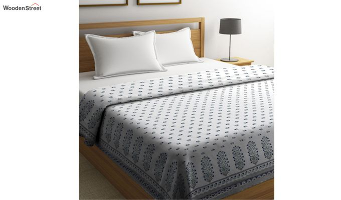 White Cotton Screen Print Double Bed AC Dohar-1