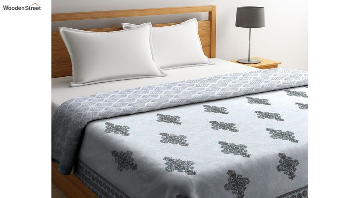 Blue Cotton Screen Print Double Bed Reversible AC Dohar-1
