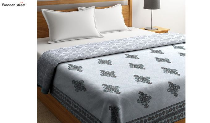 Blue Cotton Screen Print Double Bed Reversible AC Dohar-2