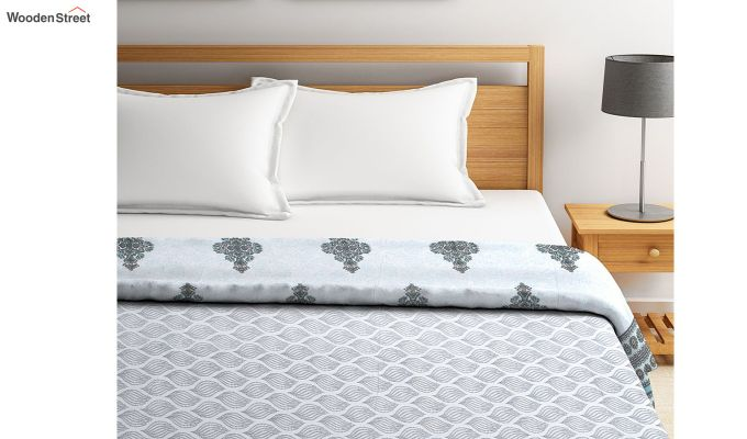 Blue Cotton Screen Print Double Bed Reversible AC Dohar-3