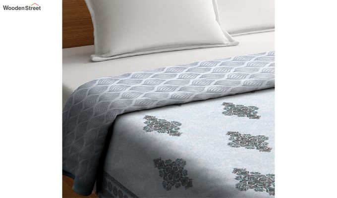 Blue Cotton Screen Print Double Bed Reversible AC Dohar-4