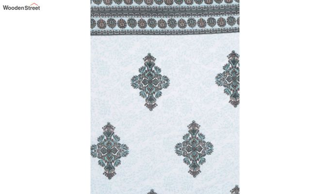 Blue Cotton Screen Print Double Bed Reversible AC Dohar-5