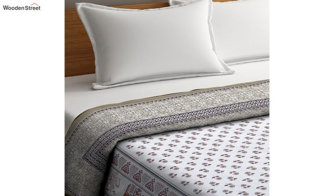 White Cotton Screen Print Reversible Double Bed AC Dohar-3