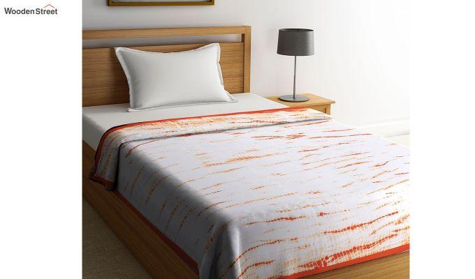 White Cotton Tie and Dye Print Single Bed AC Dohar-1