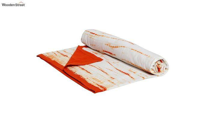 White Cotton Tie and Dye Print Single Bed AC Dohar-4