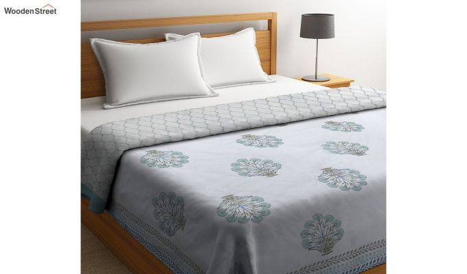 White Screen Floral Print Traditional Jaipuri Double Bed Summer Quilt-1