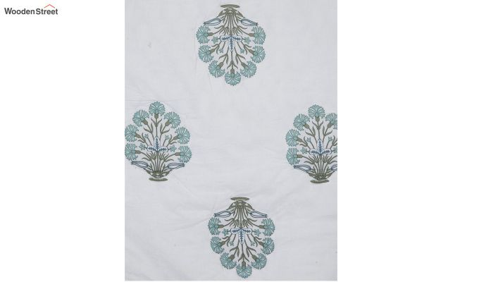 White Screen Floral Print Traditional Jaipuri Double Bed Summer Quilt-3