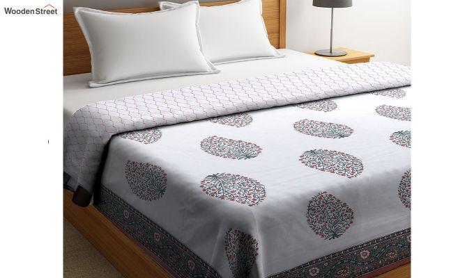 White Screen Print Reversible Floral Double Bed AC Dohar-1